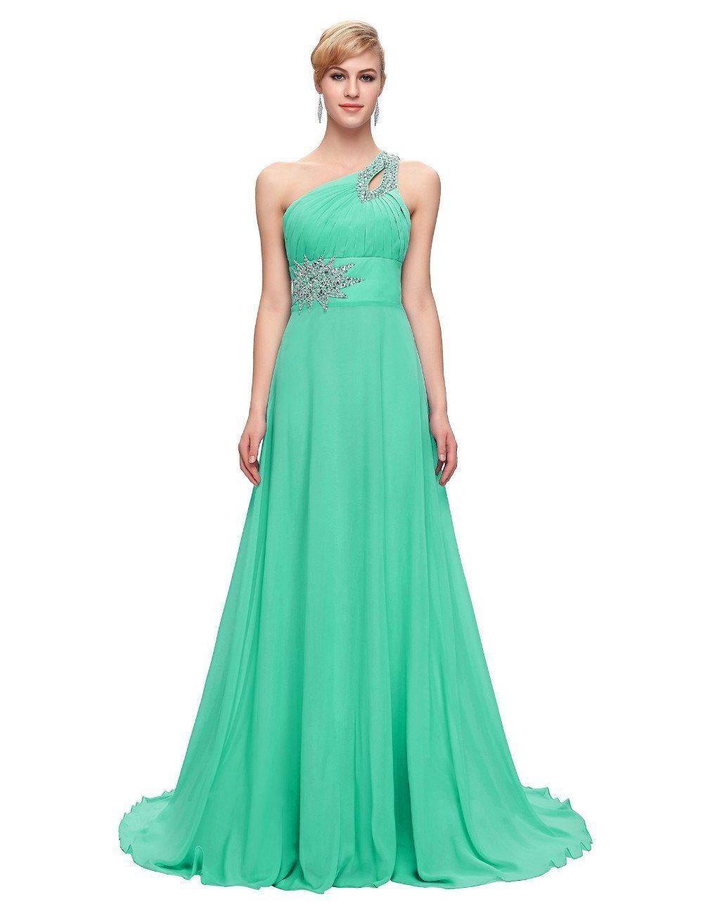 One Shoulder Floor Length Chiffon Prom Dress With Beading – TeresaClare