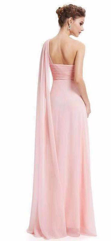Light Pink A-Line Chiffon Ankle-Length One Shoulder Neckline With Ruffles | TeresaClare