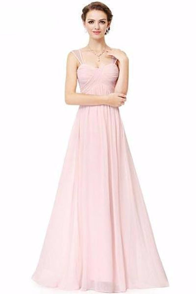 Light Pink Empire Sweetheart Neckline Chiffon Prom Dress With Pleats And Appliques | TeresaClare