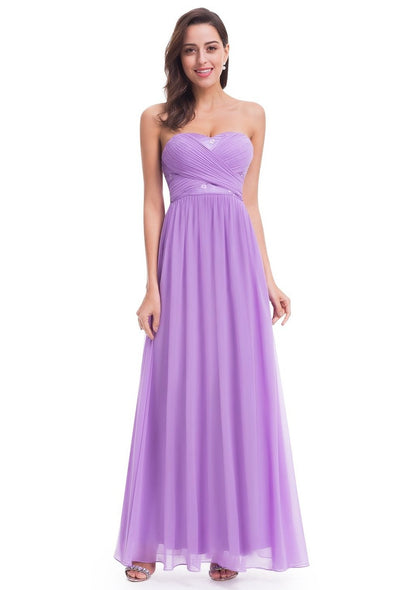 Long Chiffon Lavender Strapless Empire Dress | TeresaClare