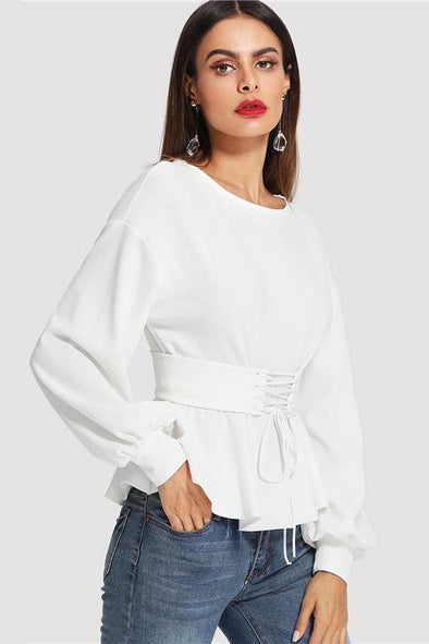 Long Lantern Sleeve Lady Work Elegant Blouse | TeresaClare
