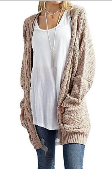 Long Solid Cardigan Knitted Women's Sweater With Pockets | TeresaClare