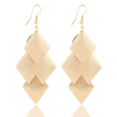 Long Tassel Drop Geometry Square Earrings | TeresaClare