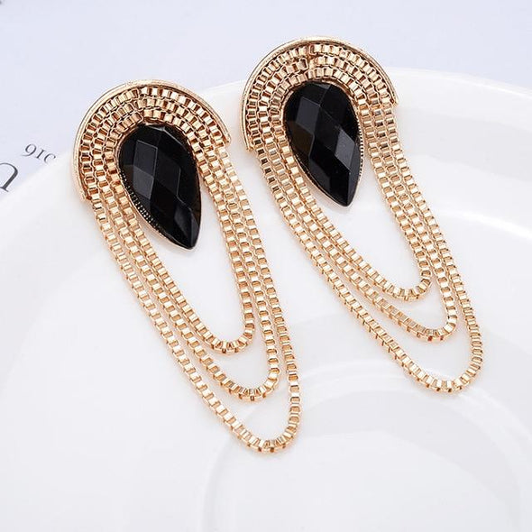 Long Tassel Water Drop Resin Earring Luxury Big Earrings | TeresaClare