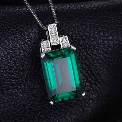 Luxury 925 Sterling Silver 6ct Emerald Pendant | TeresaClare
