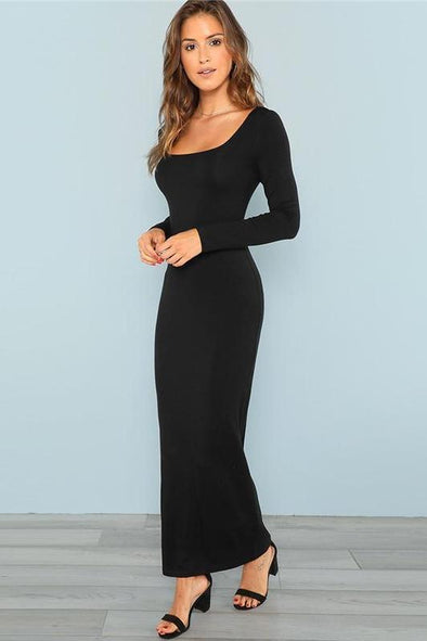 Maxi Square Neck Fitted Maxi Bodycon Long Sleeve Fashion Dress | TeresaClare