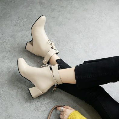 Metal Buckle Design Soft Leather Ankle Boots | TeresaClare