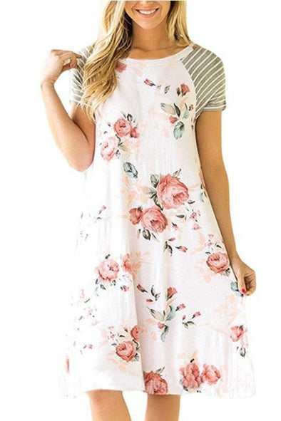 Midi Length Patchwork Floral Print Fashion Dress With Short Sleeve | TeresaClare