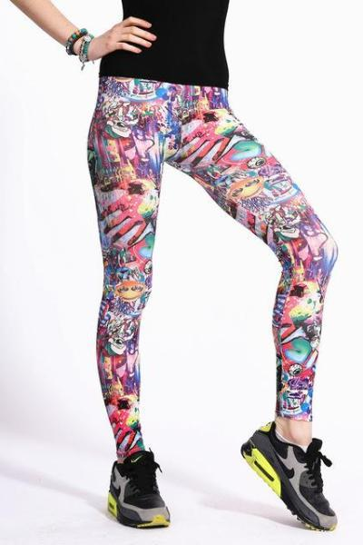 Mixed 01 Colorful Cartoon Pattern Leggings For Women | TeresaClare