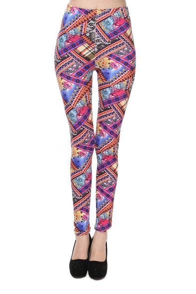 Mixed Colorful Fashion Aztec Colored Floral Leggings | TeresaClare