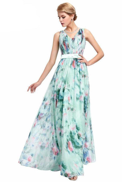 Mixed (Light Green) Beautiful V-Neck Full Length Chiffon Holiday Dress | TeresaClare