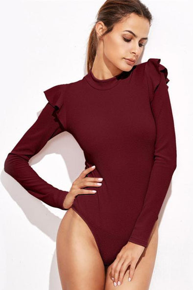 Mock Neck Textured Bodysuit With Cute Ruffles | TeresaClare