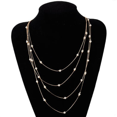 Multi-layer Chain Rice Simulated-Pearls Necklace | TeresaClare