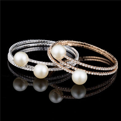 Multi-layer Rhinestone Crystal Pearl Bangle Bracelet | TeresaClare