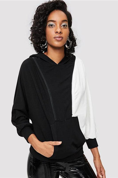Multicolor Casual Colorblock Cold Shoulder Hoodie Sweater | TeresaClare