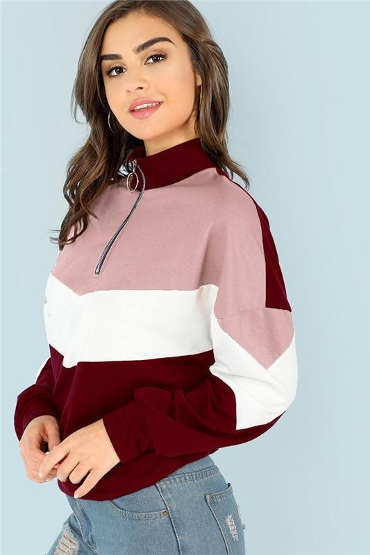 Multicolor Casual Colorblock O-Ring Zip Front Cut And Sew Sweatshirt | TeresaClare