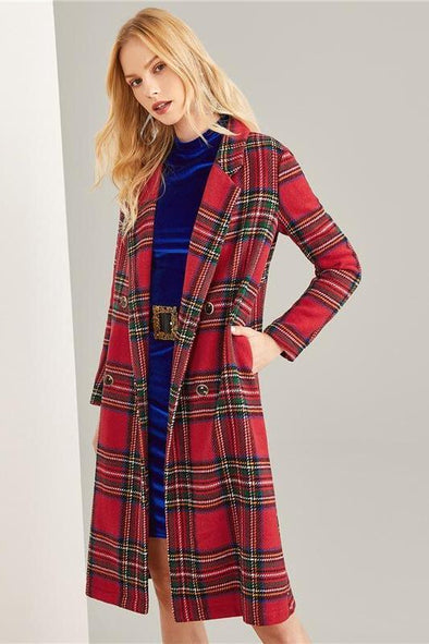 Multicolor Double Breasted Waterfall Plaid Longline Coat | TeresaClare