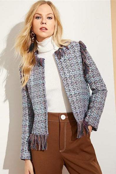 Multicolor Fringe Trim Tweed Elegant Plaid Blazer | TeresaClare