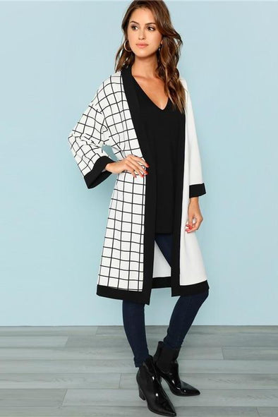 Multicolor Highstreet Cut And Sew Grid Print Coat | TeresaClare
