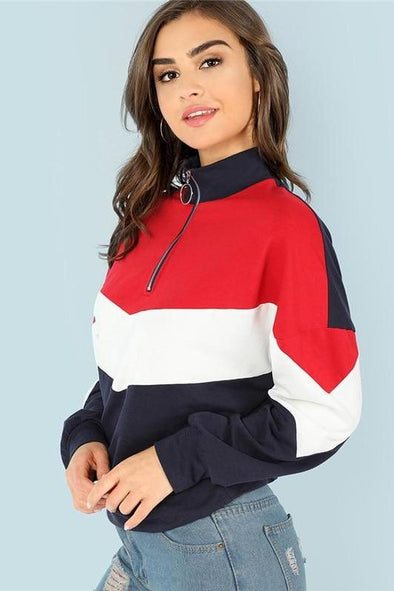 Multicolor Minimalist O-Ring Zip Front Cut And Sew Sweatshirt | TeresaClare