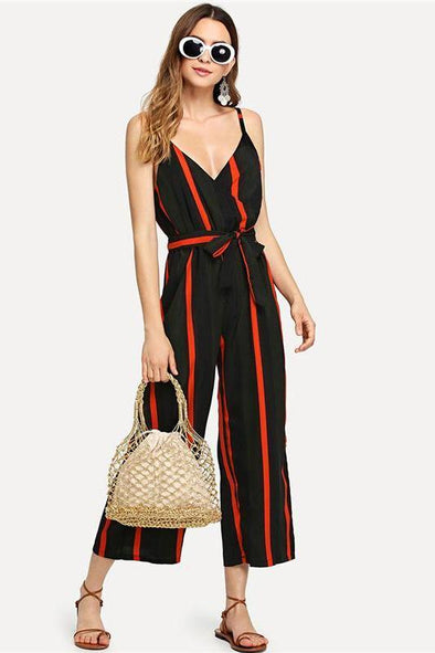 Multicolor Tie Waist Striped Summer V Neck Jumpsuit | TeresaClare