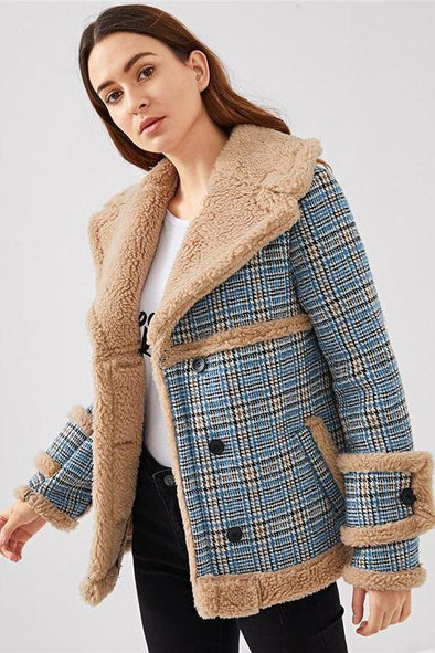 Multicolor Waterfall Collar Contrast Faux Fur Plaid Coat | TeresaClare