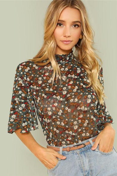 Multicolor Weekend Casual Button Keyhole Blouse | TeresaClare