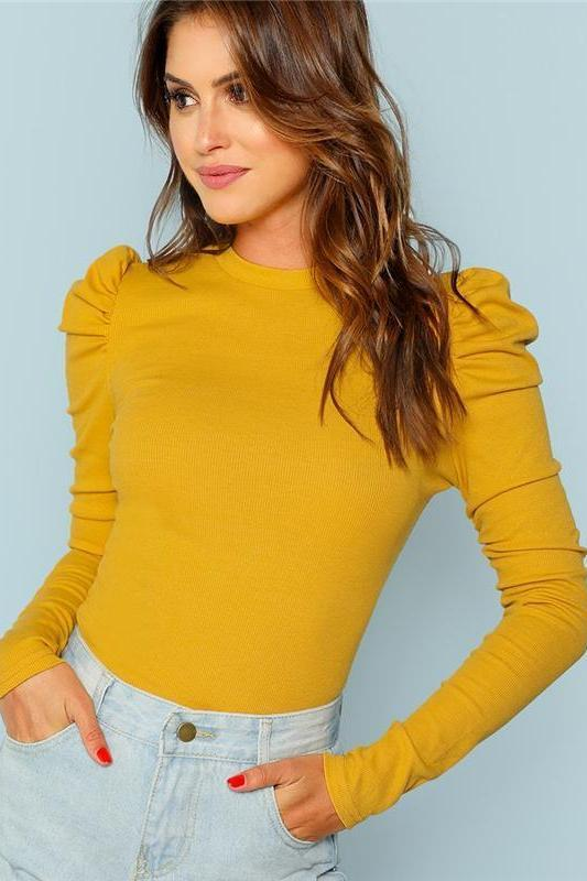 Mustard Yellow Puff Sleeve Rib Knit Solid Pullovers Slim Fit T-Shirt | TeresaClare