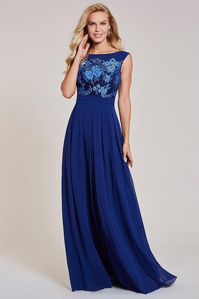 Navy Blue Appliques Dark Royal Blue Bateau Neck Sleeveless Evening Dress | TeresaClare