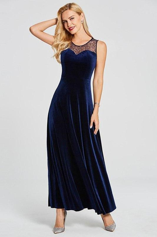 Navy Blue Beaded Long Elegant Burgundy Sleeveless A-Line Evening Dress | TeresaClare