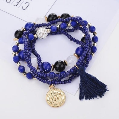 Navy Blue Bohemian Multilayer Candy Color Beads Tassels Bracelet | TeresaClare