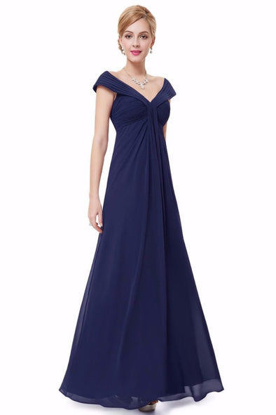 Navy Blue Elegant A-Line Chiffon V-Neck Floor-Length Evening Dress | TeresaClare