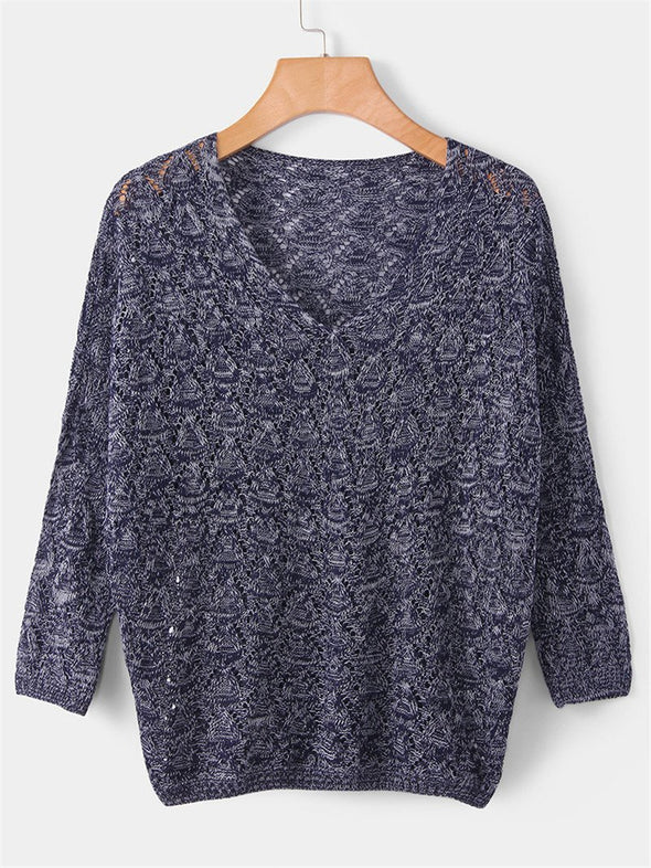 Navy Blue Fashion Batwing Pullovers Casual Deep V-neck Knitted Sweater | TeresaClare
