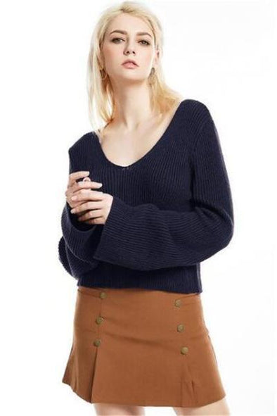 Navy Blue Knitted Pullovers For Women V-neck Sweater | TeresaClare