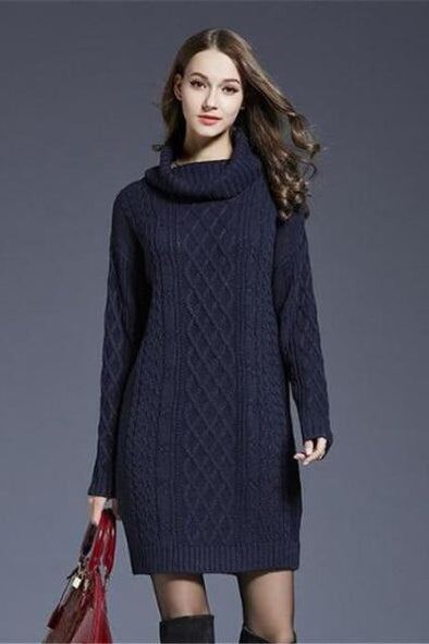 Navy Blue Knitted Turtleneck High Waist Mini Dress Sweater | TeresaClare