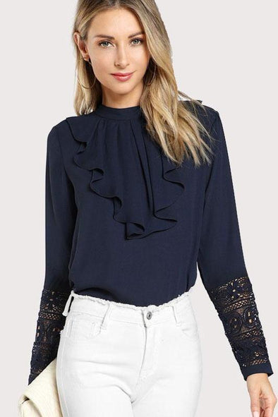 Navy Blue Ruffle Elegant Contrast Lace Blouse | TeresaClare