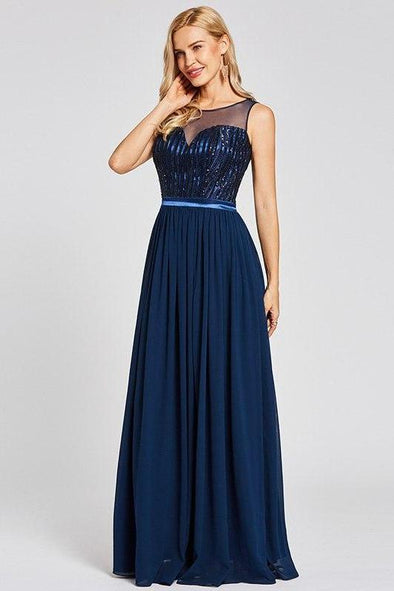 Navy Blue Sequins Long Daffodil Scoop Neck Floor Length A-Line Prom Dress | TeresaClare