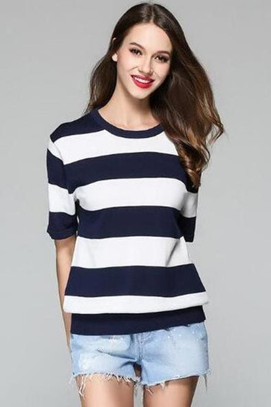 Navy Blue Striped O-neck Knitted Pullovers Casual Sweater | TeresaClare