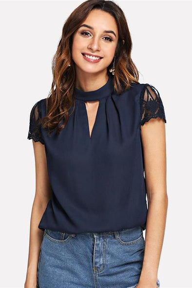 Navy Elegant Workwear V Cut Neck Contrast Lace Blouse | TeresaClare