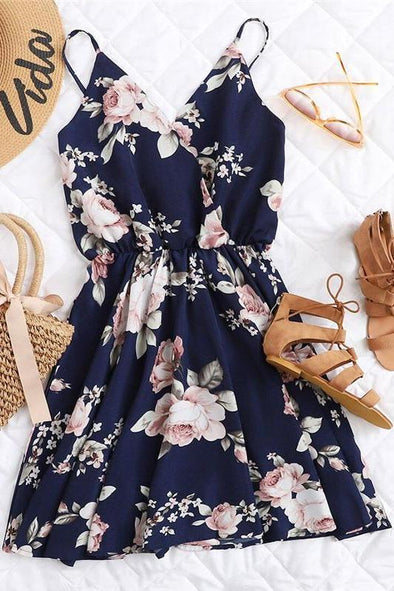 Navy Floral Print Surplice Sleeveless Fashion Dress | TeresaClare