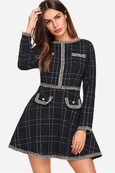 Navy Plaid Fringe And Pearl Embellished Fashion Dress | TeresaClare
