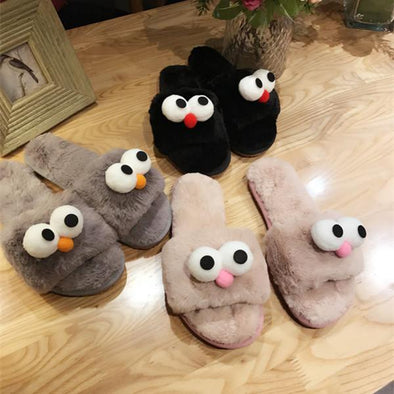 New Cute Big Googly Eyes Plush Slippers | TeresaClare