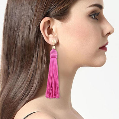 New Ethnic 7 Colors Long Tassel Earrings For Women | TeresaClare