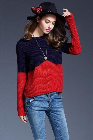 O-Neck Fashion Patchwork Knitted Pullovers Sweater | TeresaClare