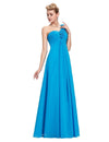 Ocean Blue Elegant Empire One Shoulder Prom Dress With Flowers | TeresaClare