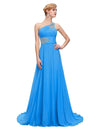 Ocean Blue One Shoulder Floor Length Chiffon Prom Dress With Beading | TeresaClare