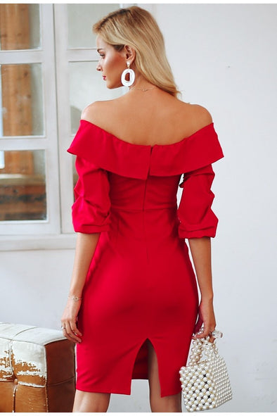Off Shoulder Bodycon Backless Ruched Sleeve Dress | TeresaClare