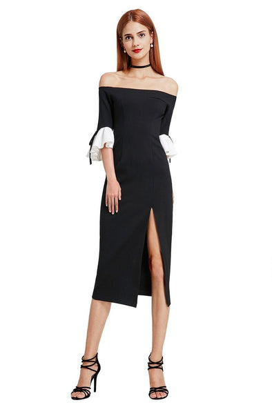 Off Shoulder Contrast Color Ruffle Sleeve Split Evening Dress | TeresaClare
