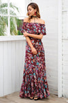 Off Shoulder Elegant Floral Print Maxi Dress | TeresaClare