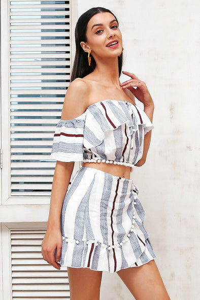 Off Shoulder Lace Up Two Piece Wrap Short Dress | TeresaClare